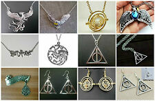 Harry Potter Deathly Hallows Time Turner Tiara Phoenix Bird NECKLACE EARRINGS +