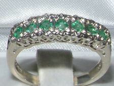 Solid English Sterling Silver Natural Emerald Victorian Style Eternity Band Ring