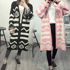 Fashion Women's Long Sleeve Geometric Stripe Knitted Sweater Cardigan Loose Coat