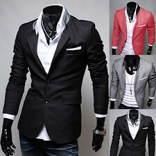 New Stylish Mens Fashion Casual Slim Fit Two Button Suit Blazer Coat Jacket Tops