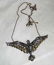 FOSSIL BRAND Flying Bird Necklace Silver Tone with Crystals Boho Chic EUC