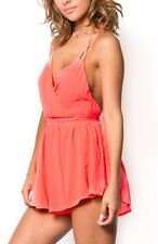 Bright coral romper short open back small medium large forever 21 nasty gal Asos