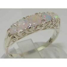 Luxury Solid Sterling 925 Silver Natural Opal Victorian Style Eternity Ring