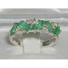 Unusual Solid 925 Sterling Silver Natural Fiery Opal & Emerald Eternity Ring