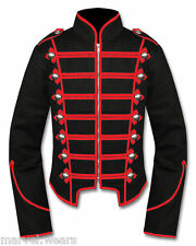 Men's Handmade Black/Red  Military Marching Band Drummer Jacket New Style