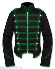 Men's Handmade Black/Green Military Marching Band Drummer Jacket New Style