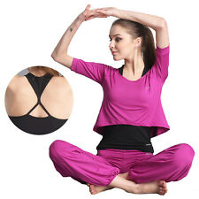 Womens Athletic Clothing Yoga Workout Gym Fitness Tops Shirts Vests Long Pants
