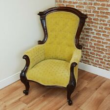 Antique Victorian Carved Mahogany Buttoned Back Armchair Fireside Gents Chair