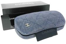 Chanel Quilted Denim Glasses Spectacles Frames Case, Lense Cloth, Pouch & Box