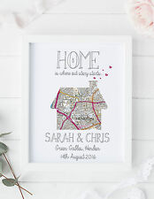 Personalised map print new home first house present  / house warming moving gift