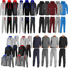 Mens Contrast Jogging Full Tracksuit Set Fleece Hoodie Top Bottoms Joggers Gym