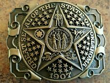 GREAT SEAL OF THE STATE OF OKLAHOMA~SOLID BRASS BELT BUCKLE~AWARD DESIGN MEDALS