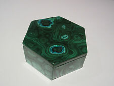 Malachite Chrysocolla Gemstone Box - Hexagonal