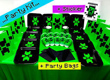Birthday Black Party Kit2 Plates Cups Party Bags with Official Minecraft Sticker