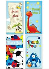 16 x Boys Male Thank You Cards 4 Different Designs to Choose cardboard