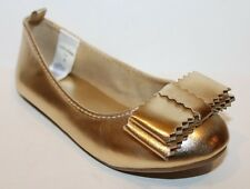 baby Gap NWT Girls 6 7 8 9 10 Metallic Gold Ballet Flats Shoes w/ Square Bow