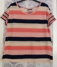 Women's Pink/navy/white Striped T-shirt In Size 12