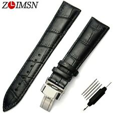 16 ~ 20 22 23 24 26mm NEW Genuine Leather Brown White Stitched Watch Band Strap