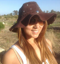 Floppy hat suede Leather Hat Studded boho hat Sueded leather Brown or Black