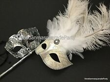 Masquerade silver Couple Halloween costume Masquerade Party feather stick Mask