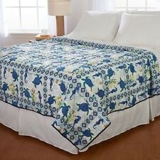 Twin Full Queen King Bed Blue Gold Sea Turtles Ocean Beach Summer Quilt Coverlet