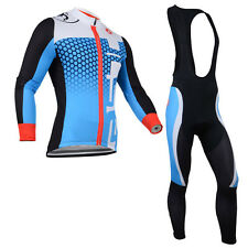 New Mens Cycling Jersey Long Sleeve Tops Racing Biking Shirt Bib Pants Sets Blue