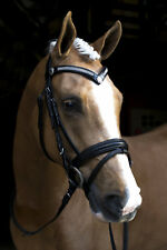 NEW Black Snaffle HORSE BRIDLE With Reins BLING BROWBAND *Pony Cob Full WB*