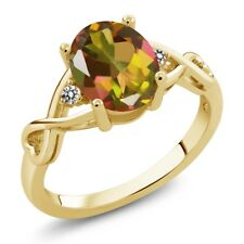 1.86 Ct Oval Mango Mystic Topaz White Diamond 14K Yellow Gold Ring