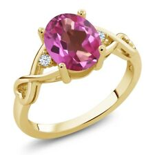 1.85 Ct Oval Pink Mystic Topaz White Topaz 14K Yellow Gold Ring