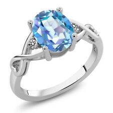 1.86 Ct Oval Millennium Blue Mystic Quartz White Diamond 14K White Gold Ring