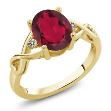 1.86 Ct Oval Red Mystic Quartz White Diamond 18K Yellow Gold Ring