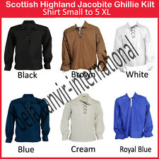 Scottish Highland Jacobite Jacobean Ghillie Shirt 6 Colours Small to 5XL