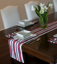 "RED WHITE BLUE 4TH OF JULY PATRIOTIC STRIPE HOLIDAY TABLE RUNNER  72"" 90"""