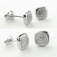 925 Sterling Silver ROUND-SQUARE Micro Pave Earrings-Stud) (5 mm/8 mm)
