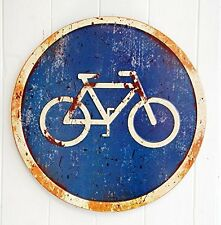 Vintage retro blue bicycle enamel road sign