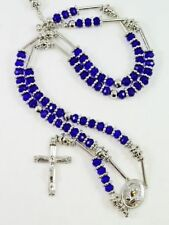 HIP HOP High Quality Blue Rosary Beaded Jesus Cross  Long Fashion Necklace 36''#