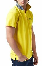 Polo Just Cavalli Man Men Homme T-shirt 100% Cotton collar contrast yellow