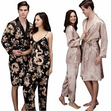 Dragon & Phoenix Patterened Lovers Imitated Silk Night Robe Bath Gown Couples