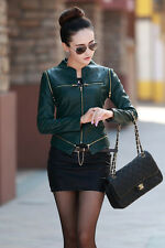 Women spring jacket women leather jacket round Neck zip jacket Can be removed