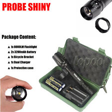 8000LM Zoomable XML T6 LED Tactical Police Flashlight 18650 Battery Charger Case