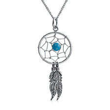Bling Jewelry 925 Silver Blue Simulated Turquoise Dream Catcher Feather Necklac