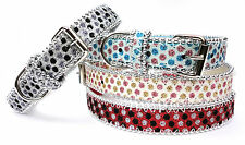 New Sparkly Beaded Dog Collar Glitter Bling PU Leather PINK BLUE BLACK RED
