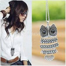 Women Vintage Silver/Copper Owl Pendant Necklaces Long Chain Jewellery  SP