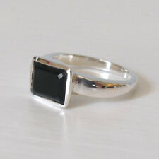 Faceted Black Onyx and Sterling Silver Ring, Sizes M and O