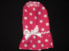 Bright Pink with White Dots Dress Dog Puppy Teacup Pet Clothes XXXS - Large