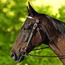 New WESTERN SHOW BRIDLE Dark Brown Leather With Split Reins *PONY COB FULL*