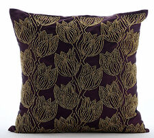 Purple Art Silk 35x35 cm Beaded Gold Tulips Flower Cushions Cover - Gold Tulips
