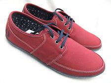 NEW FRED PERRY B3186 TONIC MENS MAROON CANVAS CASUAL SHOES TRAINERS