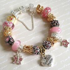 PINK Sparkle GOLD & Silver Plated Personalised Charm Bead Bracelet GIFT BOX