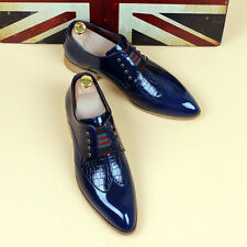 Mens pointy toe dress shoes England casual patent leather wedding shoes wing tip